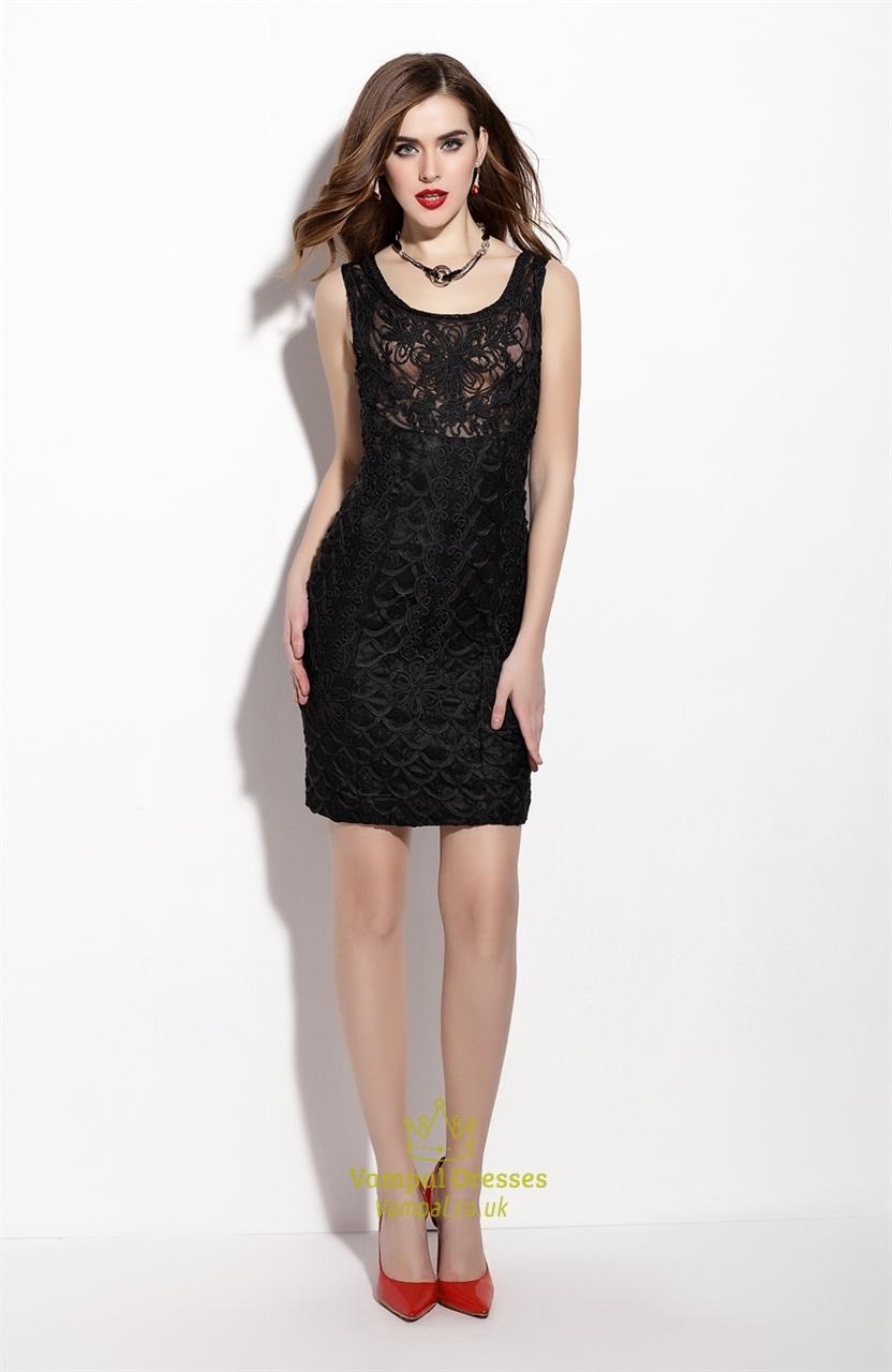 black sleeveless lace overlay sheath cocktail dress