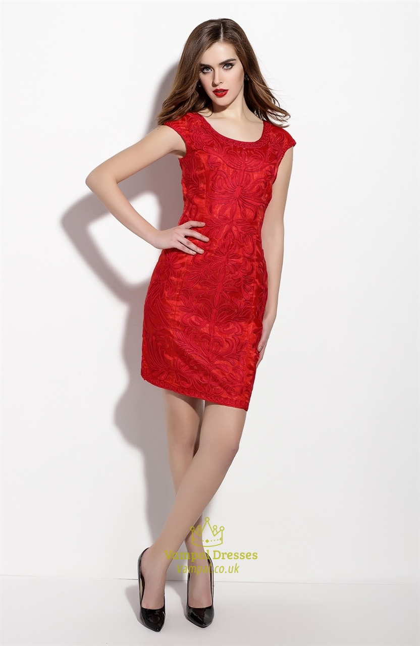 Red embroidered sheath cocktail dress with cap sleeves