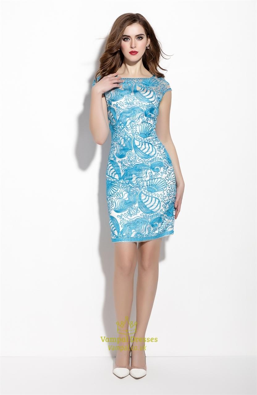 Sky Blue Sheer Illusion Neckline Overlay Sheath Dress With