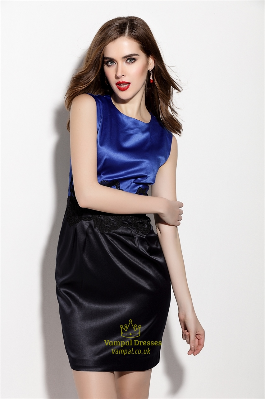 Blue And Black Sleeveless Embroidered Sheath Cocktail