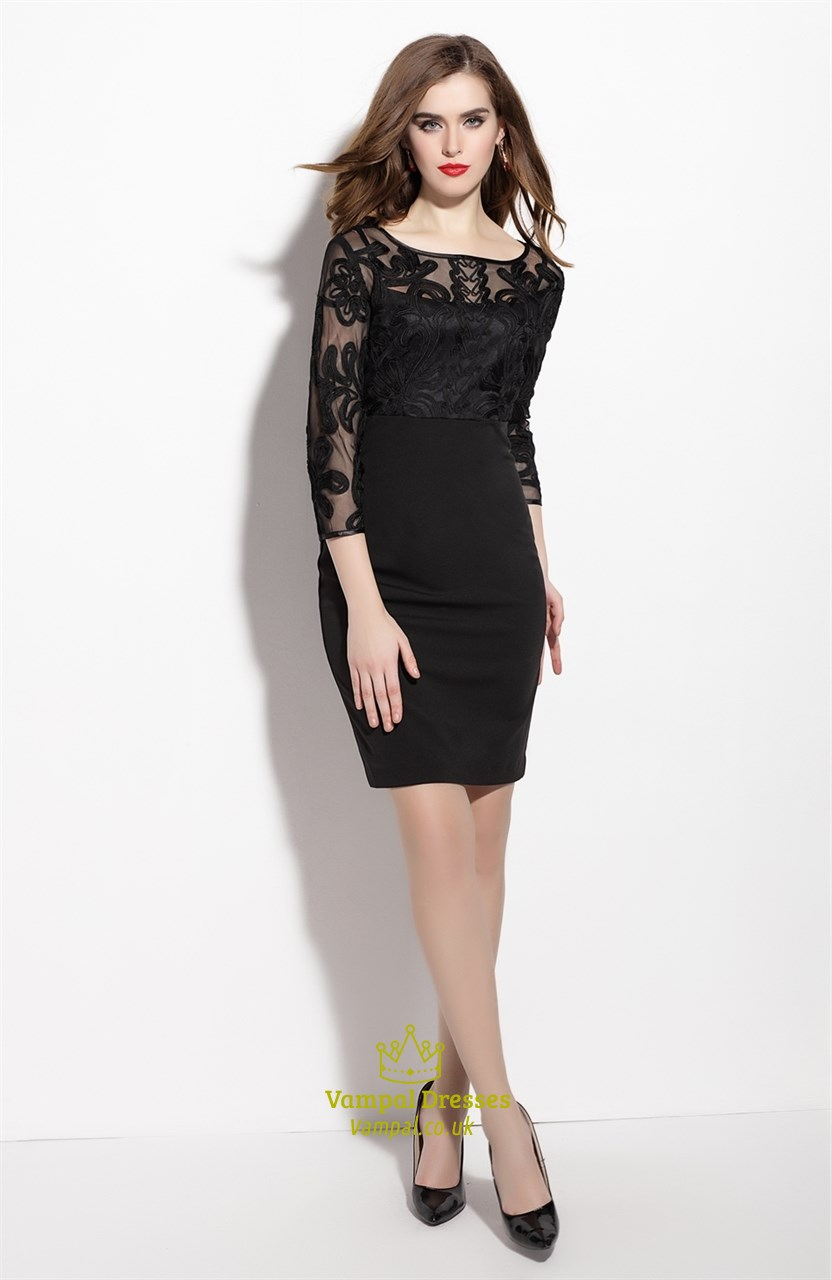 Black Sheer Illusion Neckline Sheath Dress With 3 4 Length