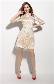 Champagne Sheer Illusion Neckline Overlay Cocktail Dress