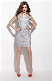 Grey Embroidery Sleeveless V Neck Sheath Cocktail Dress