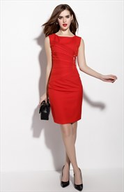 Red Sleeveless Ruched Sheath Cocktail Dress With Zip Front