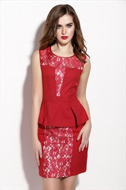 Red Sleeveless Peplum Cocktail Dress With Lace Applique