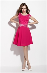 Fuchsia Sleeveless Lace Embellishment Fit And Flare Casual Dresses