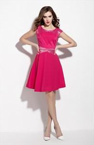 Fuchsia Sleeveless Lace Embellishment Fit And Flare Casual Dresses