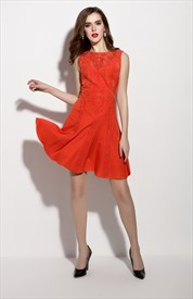 Orange Sleeveless Illusion Neckline Fit And Flare Skater Dress