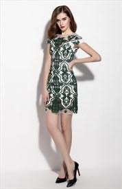Emerald Green Illusion Neckline Sheath Cocktail Dress With Cap Sleeve