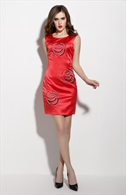 Red Sleeveless Sheath Cocktail Dress With Beaded Bodice
