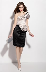 Champagne And Black Ruched One Shoulder Peplum Dress