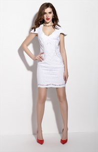 White Deep V Neck Hollow Out Sheath Dress With Cap Sleeves