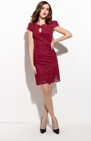 Burgundy Lace Overlay Sheath Cocktail Dress With Cap Sleeves