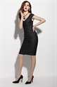 Simple Black V Neck Sheath Dress With Cap Sleeve