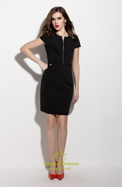 Black Zip Front Sheath Cocktail Dress With Short Sleeve