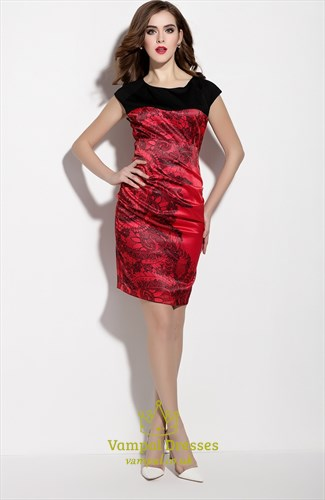 Black And Red Sleeveless Floral Print Sheath Cocktail Dress