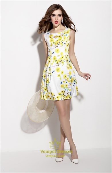White Sleeveless Floral Print Fit And Flare Skater Dress