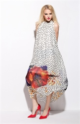 White Polka Dot Hawaiian Print Chiffon Dress With Bow