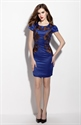 Navy Blue Embrodiered Sheath Cocktail Dress With Cap Sleeve