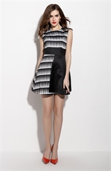 Black And White Sleeveless Fit And Flare Dress With Black Belt