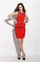 Red Lace Detail Ruched Short Sleeveless Peplum Dress