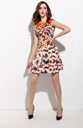 Casual Summer Orange Sleeveless Floral Print Skater Dress