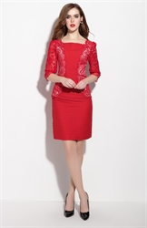 Red Ruched Half Sleeve Knee Length Sheath Dress Lace Detail