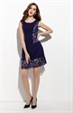 Navy Blue Sleeveless Ruched Sheath Dress With Lace Applique