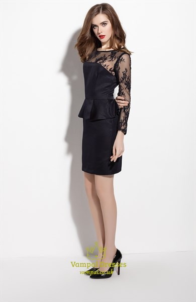 Black Lace Illusion Neckline Peplum Dress With Long Sleeves