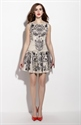 Vintage Style Champagne Sleeveless Floral Print Casual Dress