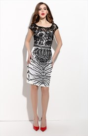 Black And White Embellished Lace Illusion Neckline Sheath Dress