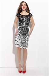 Black And White Embellished Lace Illusion Neckline Sheath Dress