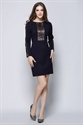 Women's Casual Dark Purple Embroidered Long Sleeve Dress