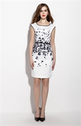 White Floral Print Cap Sleeve Knee Length Peplum Dress