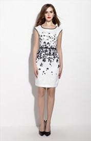 White Floral Print Cap Sleeve Knee Length Peplum Dress