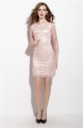 Light Pink Embellished 3/4 Length Sleeve Sheath Dress