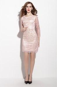 Light Pink Embellished 3/4 Length Sleeve Sheath Dress