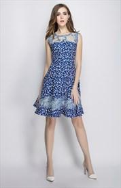 Blue Sleeveless Floral Print A Line Casual Summer Dress