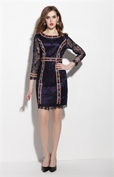Navy Blue Embellished Long Sleeve Sheath Cocktail Dress