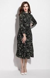 Dark Green Floral Print Chiffon Midi Dress Without Belt