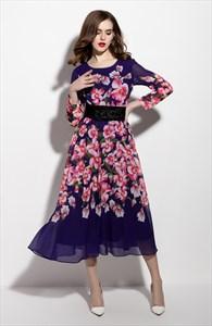 Purple Floral Print Long Sleeve Chiffon Dress With Belt