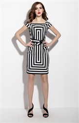 White And Black Striped Cap Sleeve Cocktail Dress With Belt