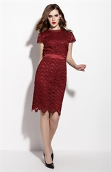 Burgundy Cap Sleeve Knee Length Dress With Lace Applique