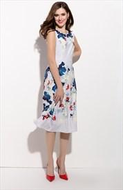 Casual Sleeveless Floral Print Chiffon Tea Length Dress