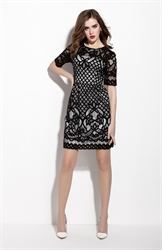 Black Lace Illusion Neckline Cocktail Dress With Half Sleeves