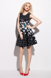 Black Sleeveless Check And Floral Print Skater Dress