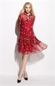 Red Floral Print Chiffon Overlay Knee Length Dress