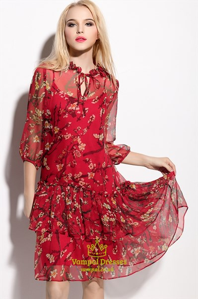 Red Floral Print Chiffon Overlay Knee Length Dress