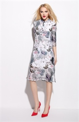 Vintage Style Floral Print Chiffon Dress With 3/4 Sleeve