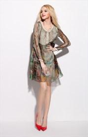 Vintage Style Floral Print Long Sleeve Chiffon Dresses